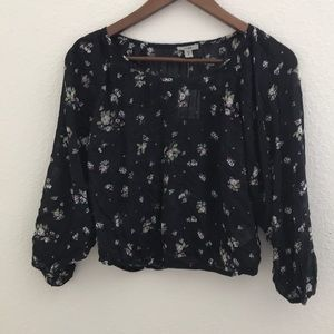 Urban Outfitters navy floral top